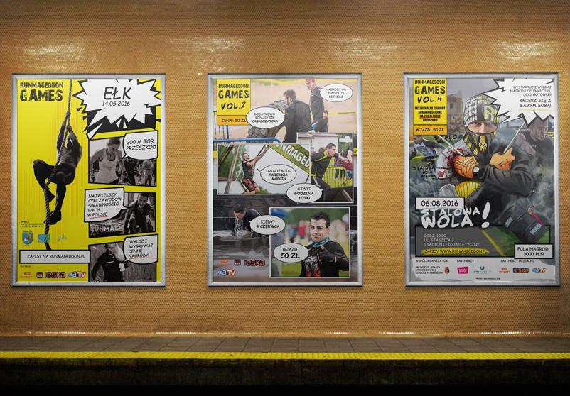 Projekt graficzny plakatów Runmageddon Games